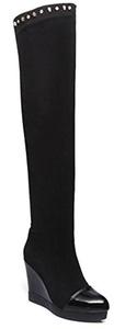 CHFSO Women's Elegant Rhinestones Round Toe Pull On Mid Wedge Heel Platform Above The Knee Knee Boots Black 5.5 B(M) US