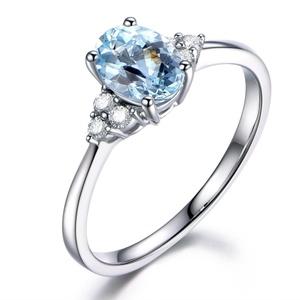14K White Gold Wedding Ring,Oval Cut Blue Aquamarine Engagement Ring,Diamond Promise Band,Reco Set