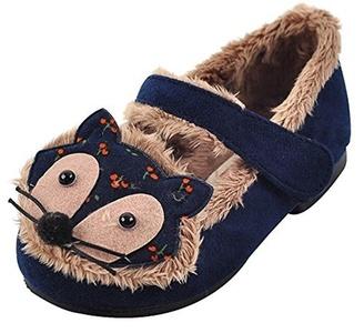 Ozkiz Girls' Pet Fox Mary Jane Flats Shoes Little Kids and Toddler Navy 13M