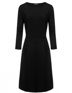 O-Neck 3/4 Sleeve Pleated A-line High Waist Dress (xx-large, black)