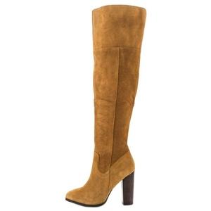 MERUMOTE Women's Autoisf Round Toe Chunky Heels Genuine Leather Knee-High Boots Yellow 8.5 US