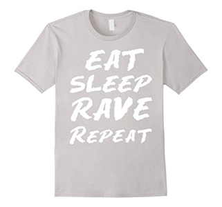 Men's Eat Sleep Rave Repeat T Shirt Rave Outfit Rave Party Costume XL Silver
