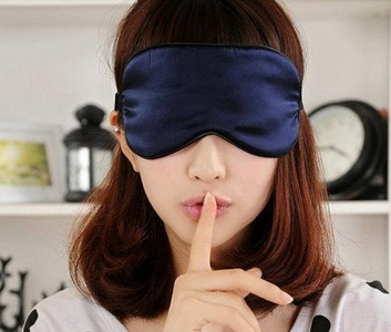 Free shipping 1pc silk eyewear sleep eye mask travel mask sleeping masks big size color dark blue