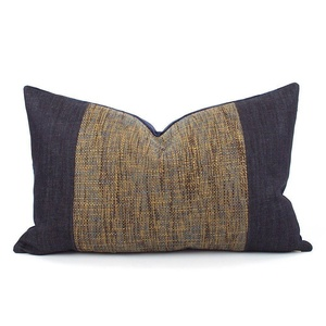 Chloe & Olive Paddington Collection Crushed Velvet and Denim Solid Designer Tweed Decorative Throw Toss Pillow with Feather Insert - Custom Cushion - Blue and Brown - 12x20