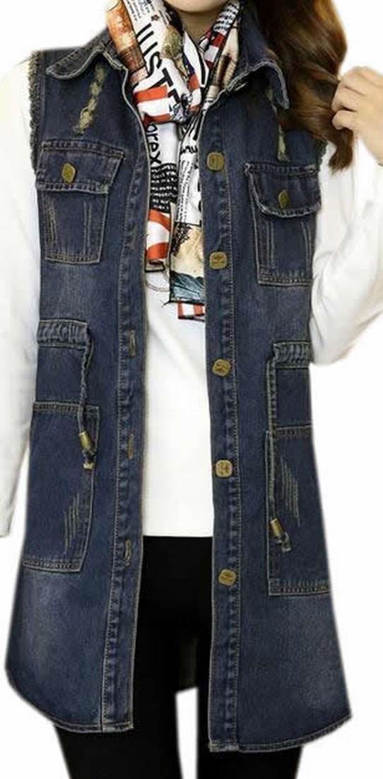 Cruiize Women's Frayed Drawstring Medium Long Denim Vest