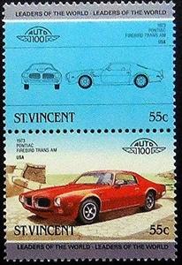 1973 Pontiac Firebird Trans AM USA Car -Handmade Framed Postage Stamp Art 20314AM
