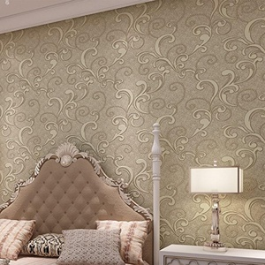 SBWYLT-Nonwoven continental living room TV background wall wallpaper 3D wallpaper bedroom hotel decoration 10 m *0.53 m , 50502 light beige , 10 meters *0.53 meters