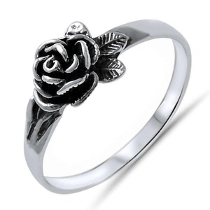 Rose Ring Sterling Silver Plain Fashion Ring Band Size 7