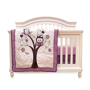 Baby's First Plum Owl Meadow 4-piece Crib Bedding Set Machine Washable And Dryable