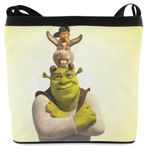 With Shrek Donkey and Puss in Boots Print Shoulder Bag Multifunctional Fabric Sling Bags
