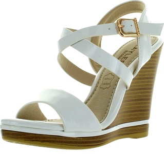 Kayleen DAYLA-3 Ankle Patent Criss Cross Strappy High Heel Wedge Sandals WHITE (7)