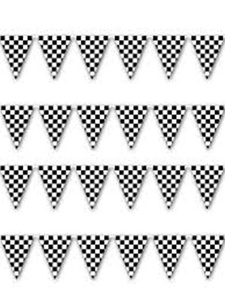 12x18 Black And White Checkered Bunting Flags Banner 100ft Long String