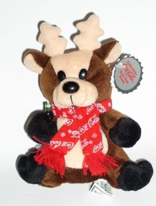Collectible Coca-Cola Bean Bag Plus -Reindeer in Coca-Cola Snowflake Scarf, Style #0142 by Coca-Cola
