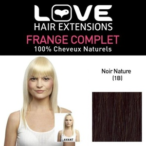Love Hair Extensions LHE/FRA1/QFC/CIF/1B Clip-On Full Fringe 100% Natural Hair Colour 1B Natural Black by Love Hair Extensions