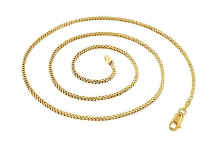 Solid 14K Yellow Gold Men's Round Franco Chain Necklace 1.8mm 16