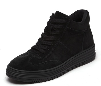 D2C Beauty Women's Platform Lace Up High-top Sneaker Bootie Shoes - Black 8 M US