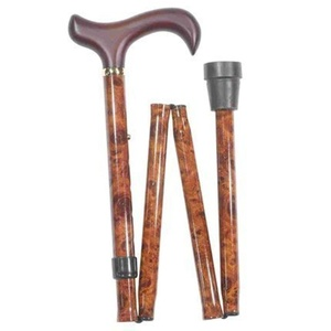 Extra Long Height Adjustable Folding Walking Stick in Brown Burr Effect by Classic Canes