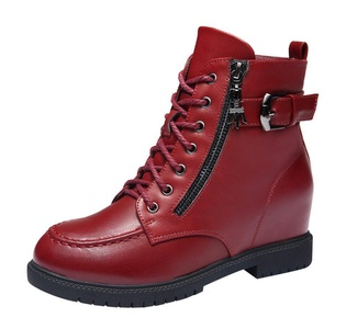 T&Grade Women Fashion Casual Lace Up Zipper And Belt Buckle Mid Top Boots(8 B(M) US, Red)