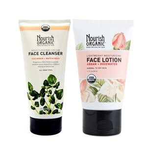Nourish Organic Facial Cleanser and Facial Lotion Bundle with Rosewater, Shea Butter and Moroccan Argan Oil, 6 fl. oz. and 1.7 fl. oz. each