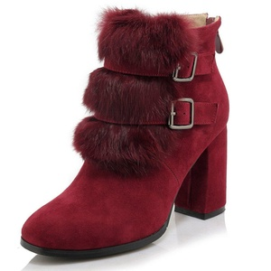 Nine Seven Suede Leather Women's Square Toe Chunky Heel Buckle Handmade Ankle Bootie with Fur (5, grey)