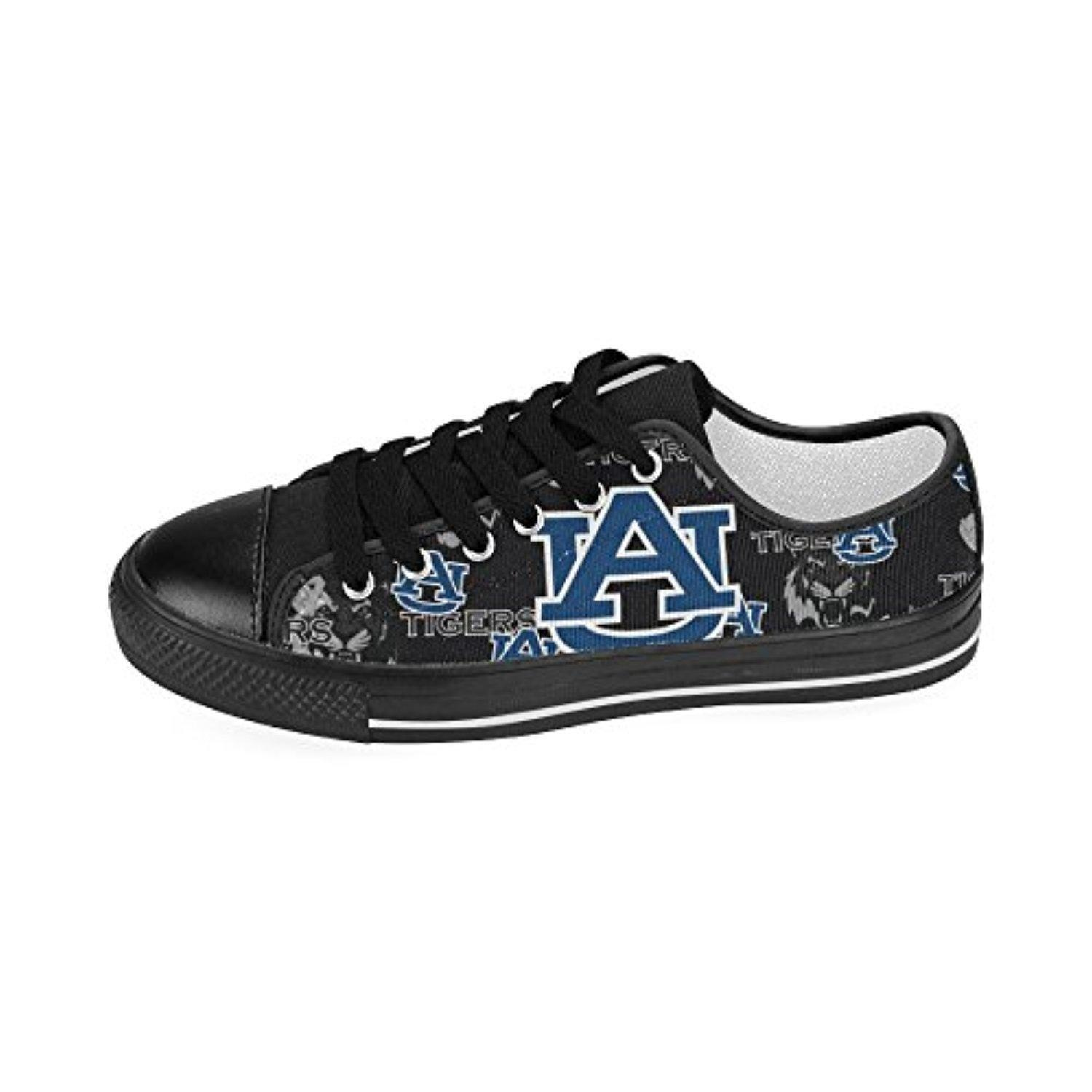 H-MOE Art Ncaa Auburn Tigers Men's Canvas Shoes Low-top Lace-up Breathable Sneakers,Black