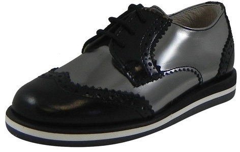 Hoo Shoes Charlie's Kid's Pewter Black Metallic Leather Platform Lace Up Oxford Loafer Shoes 26 M EU/9 M US Toddler