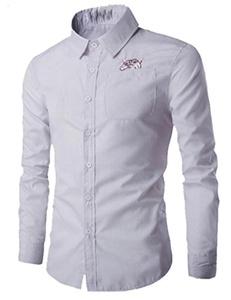OULIU Mens Fashion Slim Fit Funny Print Dress Shirt Casual Shirt White L