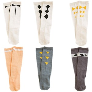 October Elf 6 Pairs Cute Bow Cotton Knee High Tube Socks for Baby Girls (L, E)