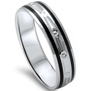 Men's 5mm Created Black Onyx Comfort Fit .925 Sterling Silver Wedding Band Ring Sizes 8-12
