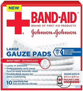 Band-Aid First Aid Large Gauze Pads, 4 In X 4 In, 10 Count (Pack of 6) by Band-Aid