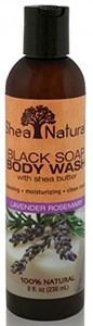 Shea Natural Black Soap Body Wash, Lavender Rosemary 8 Fz by Shea Natural