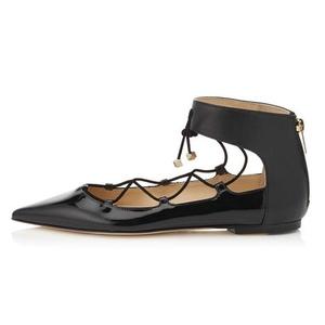 Eldof Women's Pointed Toe Lace Up Flats Cut Out Ankle Wrap Zip Closure Ballerinas Ballet Shoes Black US5