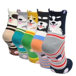 Epeius 5 Pairs Women's Animal Pattern Cotton Crew Socks