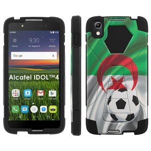 Alcatel One Touch IDOL 4 [Nitro 4/49] Phone Cover, Algeria Flag with Soccer Ball - Black Hexo Hybrid Armor Phone Case for Alcatel One Touch IDOL 4 [Nitro 4/49]