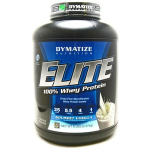Bundle - 2 Items : 1 Elite Whey Vanilla By Dymatize - 5 Pounds and 1 VDC Shaker Cup