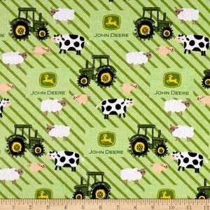 John Deere Nursery Flannel Tractor Ducks Stripes Green Fabric By The Yard