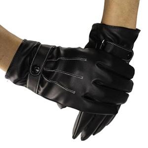 Gloves Men's Winter Warm Leather Touch Screen Gloves For Tablet Smart Phone Full Finger Black