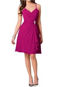 Winnie Bride Women's Short Chiffon Prom Cocktail Bridesmaid Dresses for Wedding-20W-Fuchsia