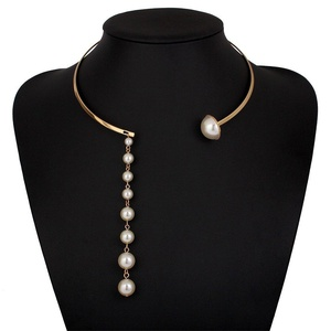 ARICO Collar Collars Necklace Jewelry Pearl Necklace Open Torques Round Geometric Choker Necklaces Gold NB721