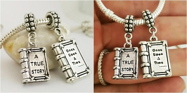 EWT Pandora Compatible 2Pc Its a True Story book Once Upon a Time European charm Pendant