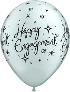 Silver Engagement Elegant Sparkles 11 Latex Balloons 6pk by Qualatex