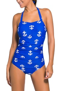 Dokotoo Womens Vintage InspiBlue 50s Style Blue Anchor Teddy Swimsuit XX-Large