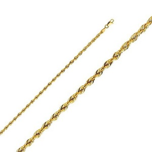 14K Yellow Gold Men Women's 3.0MM Silky Rope Chain Lobster Clasp (24)