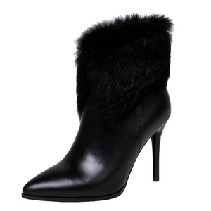 MERUMOTE Women's Autoasc Faux Furry Ankle High Genuine Leather Pointed Toe Booties Black 8.5 US