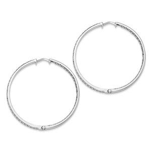 .925 Sterling Silver 51 MM Diamonds In & Out Hoop Earrings