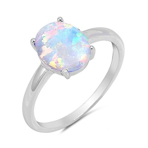 Sterling Silver Lab Created Opal Solitaire Wedding Promise Ring Womens Bridal Jewelry Size 8