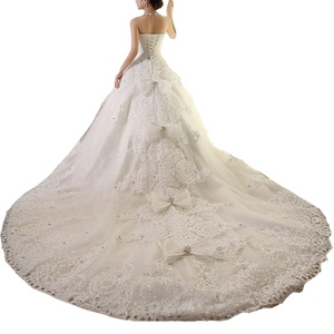 Sweetgirl Beads Lace Plus Size Wedding Dress Crystal 150cm Long Train Bridal Gowns Ivory 8