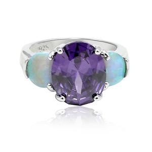 3 Stone Wedding Ring Oval Cut Purple Simulated Amethys Lab Created Light Blue Opal 925 Sterling Silver
