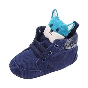 Alonea Newborn Baby Kids Cartoon Prewalker Shoelace Toddler Non-slip Soft Sole Shoes (1, Blue)