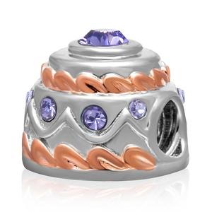 Leobeads Authentic 925 Sterling Silver Happy Birthday Cake Charms Austrian Crystal Birthstone Beads Fit Pandora Style Bracelet (Purple)